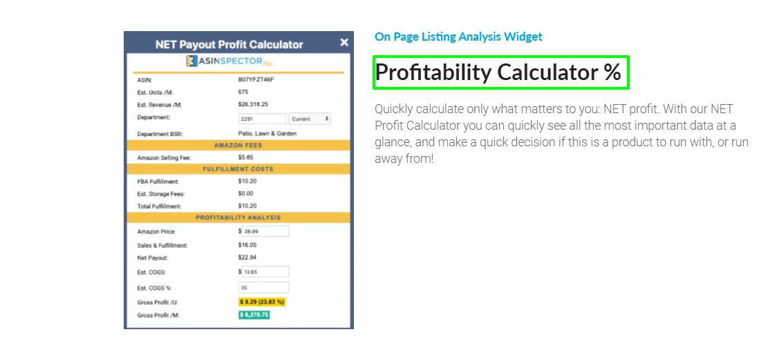 Asinpector Profit Calculator- ASINpector vs Junglescout