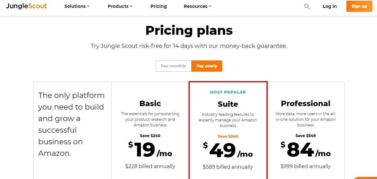 Jungle Scout Pricing- Marketplace junglescout