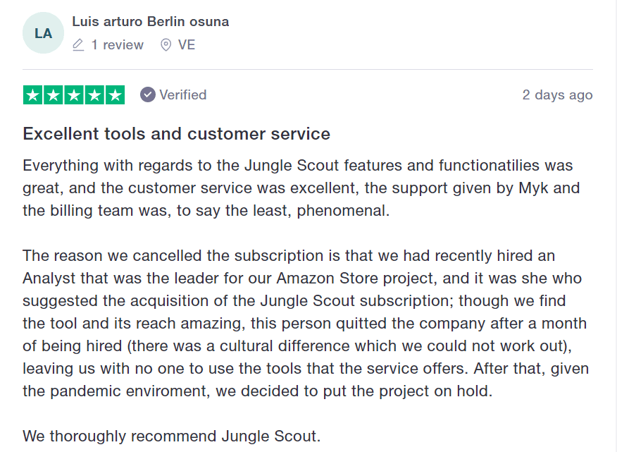 jungle scout customer review